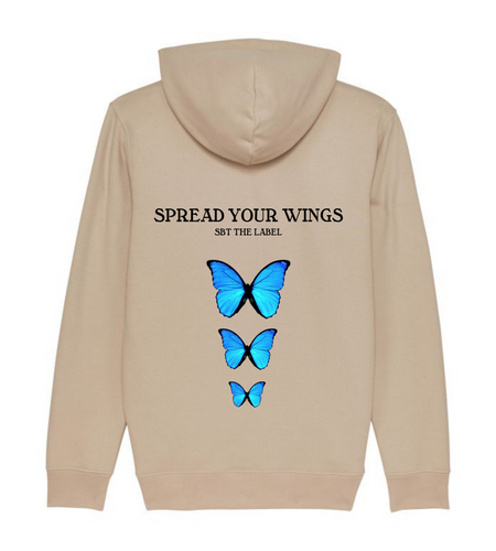 spread your wings hoodie beige
