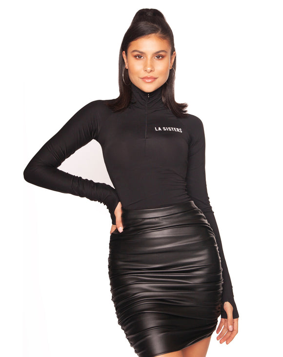 la sisters leather draped mini skirt zwart
