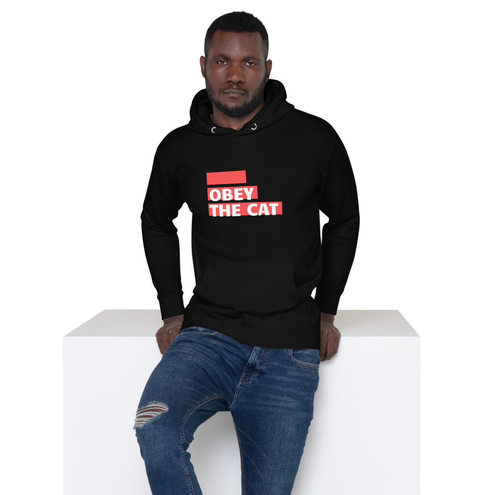 "black hooded sweatshirt says ""obey the cat"" in red lettering"