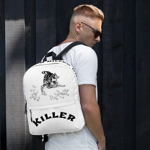 white backpack with a cat chasing rats and it says killer