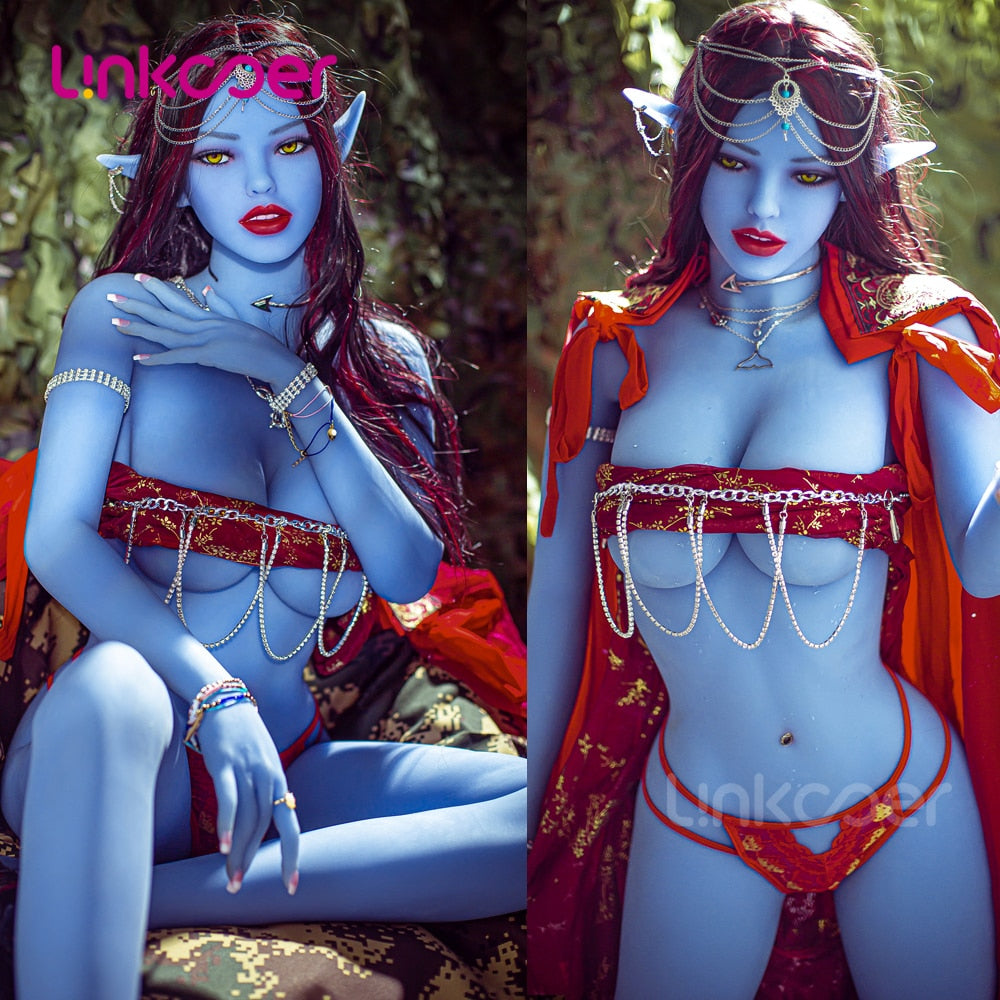 Linkooer 158cm Blue Elf Beauty Sex Dolls Silicone Lifelike Anus