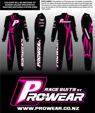 Prowear Single Layer Race Suit - Pink - PRESALE