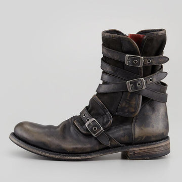 Men's Short Boots with Leather Buckle and Side Zip