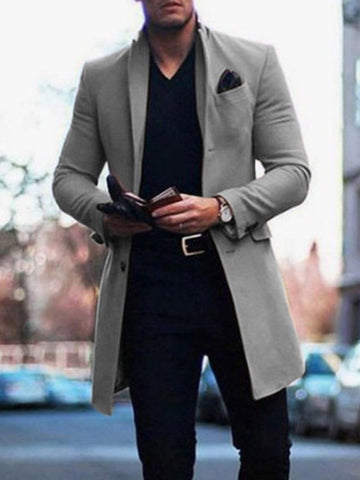 British Style Solid Color Pocket Slim Men's Coat