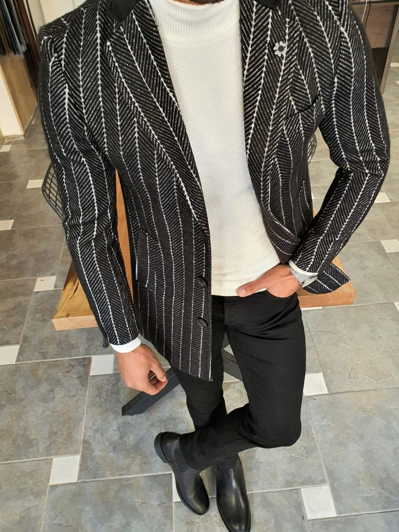 Black Slim Fit Striped  Long Coat
