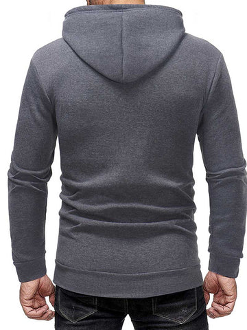 Simple Basic Hooded Pullover Solid Color Sweatshirt