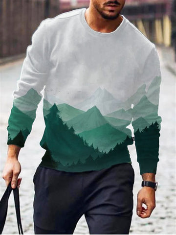 Landscape Painting Print Crew Neck Sweater