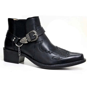 New Fashion Belt Buckle Pointed Martin Boots Men's Boots