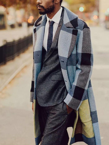Long Sleeve Loose Plaid Lapel Casual Mid-length Men's Jacket