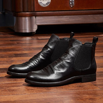 Flat-bottomed Wedge Point Casual Men's Short Boots