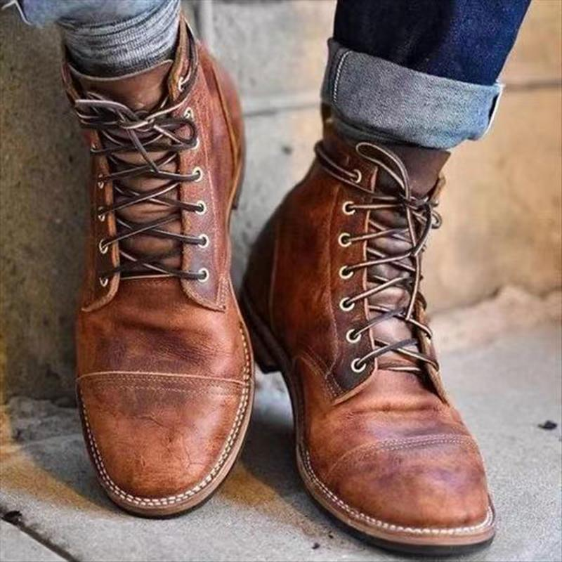 Square Toe Vintage Thick Heeled Men's Short Boots