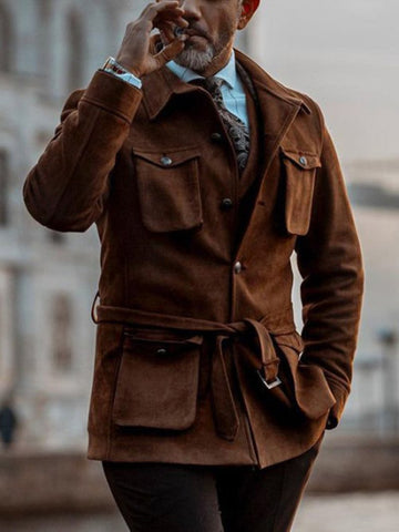 Vintage Double-pocket Deerskin Coat
