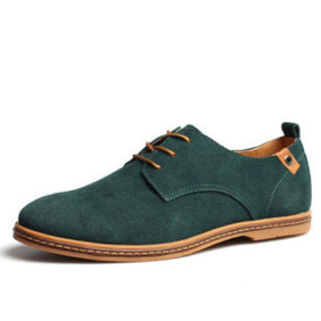 Lace-up Breathable Solid Color Sleeve Flat-heel Men's Shoes