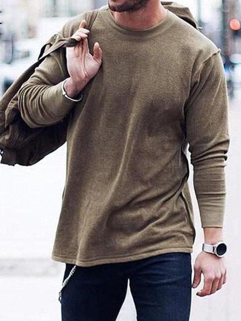Solid Color Casual Long-sleeved Men's Shirt