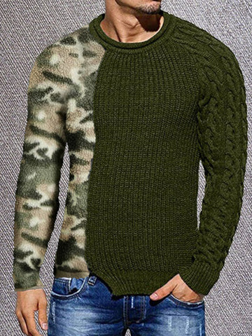 Camouflage Stitching Sweater