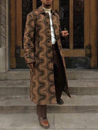 Retro Print Contrast Long-sleeved Coat