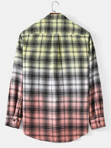 Mens Plaid Ombre Print Cotton Lapel Long Sleeve Casual Shirts