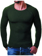 Men's Knit Pullover Ribbed Striped Knit Sweater