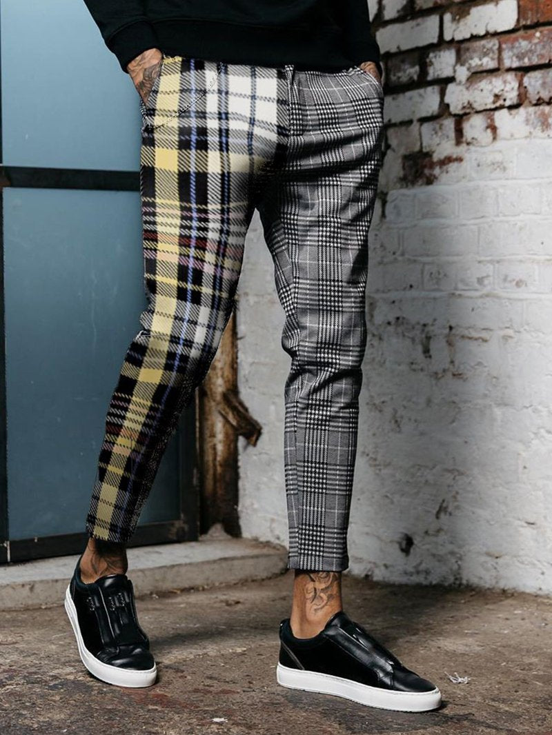 Fashion Contrast Check Trousers