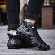 High Top Men's Leather Shoes Casual Crocodile Print