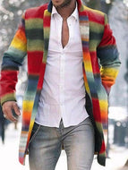 Color Block Mid-Length A Line Single-Breasted Coat