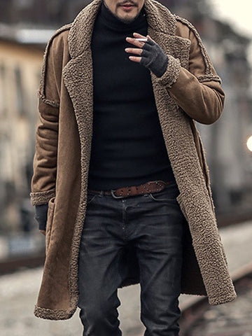 Men's Long-sleeved Solid Color Plus Velvet Thick Wool Hooded Knitted Jacket