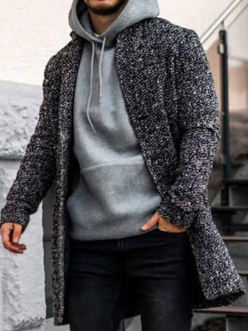 Mens Fashion Casual Plain Coat