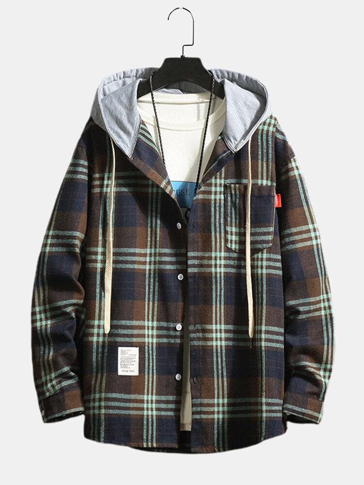 Mens Cotton Plaid Button Drawstring Hooded Shirts With Pocket