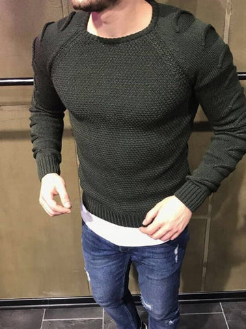 Men's Round Neck Slim Long-sleeved Chunse Knitted Sweater