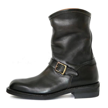 Fashion Leather Buckle Casual Low-heel Round Toe Short Men's Boots