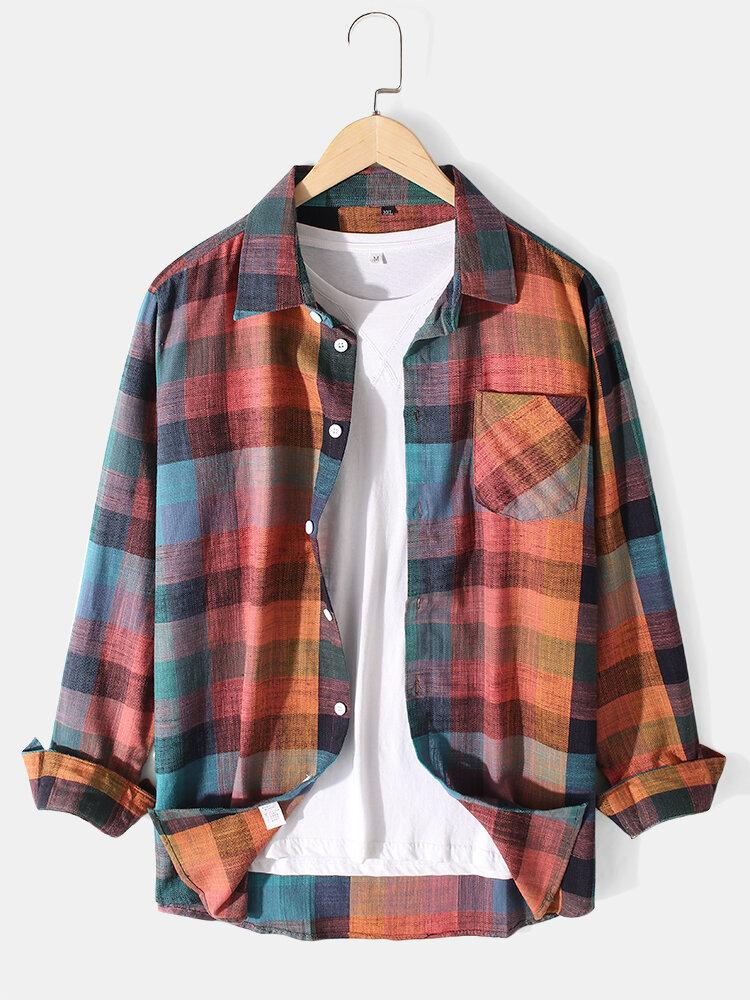 Mens Multi-Color Ombre Cotton Lapel Casual Long Sleeve Shirts