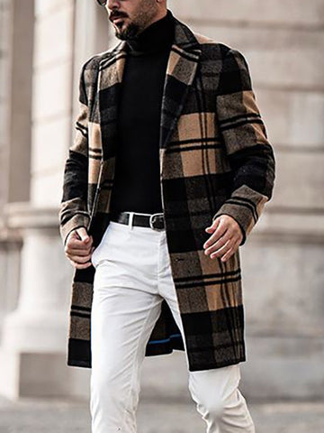 Long-sleeved Plaid Woolen Mid-length Casual Men's Jacket Coat
