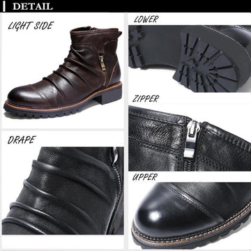 Retro Pleated Solid Color High-top Zipper Short Men's Martin Boots