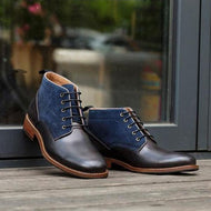 Autumn Winter Frosted Stitching Lace-up British Style Men's Boots