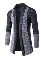 Cardigan Stitching Contrast Jacquard Long Sleeve Men's Jacket