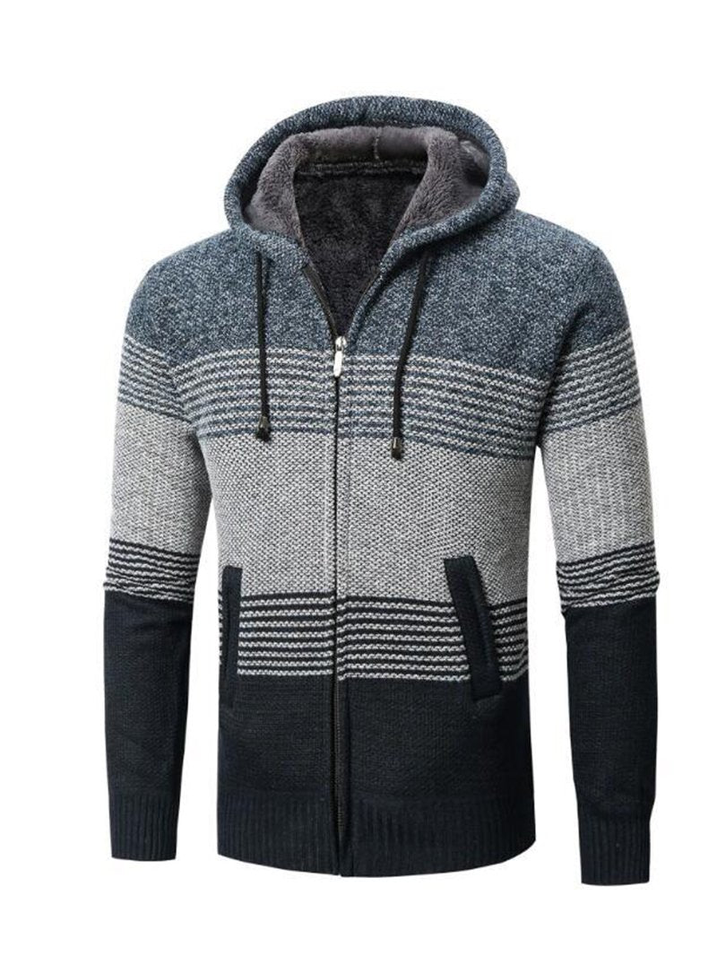 Long Sleeve Striped Thick Hooded Color Block Men's Sweater Cardigan Jacket