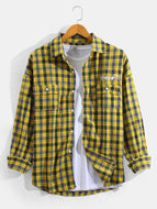 Mens Tartan Print Lapel Cotton Loose Long Sleeve Shirts With Buttoned Pocket
