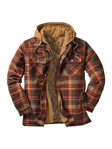 Men's Thick Cotton Plaid Long-sleeved Loose Hooded Jacket