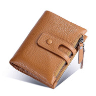 Double Zip Short Casual Leather Coin Purse