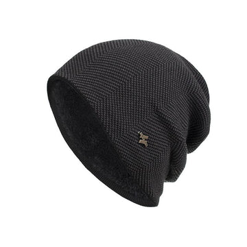 Knitted woollen hat with plush H-iron standard set cap