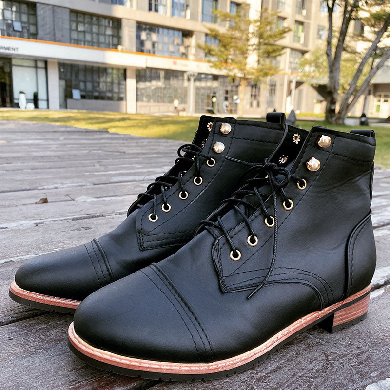 Retro Square Heeled Casual Mens Boots