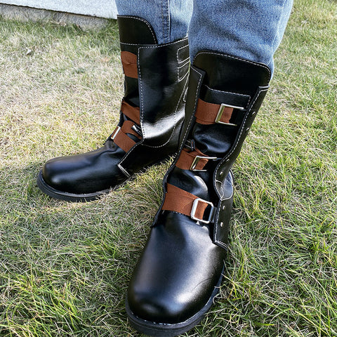 Round Toe Stitching with Belt Buckle Short Boots