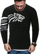 Casual Tiger Print Crew Neck Pullover Sweater