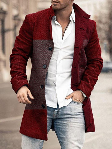 Mid-Length Stand Collar Color Block Slim Single-Breasted Coat