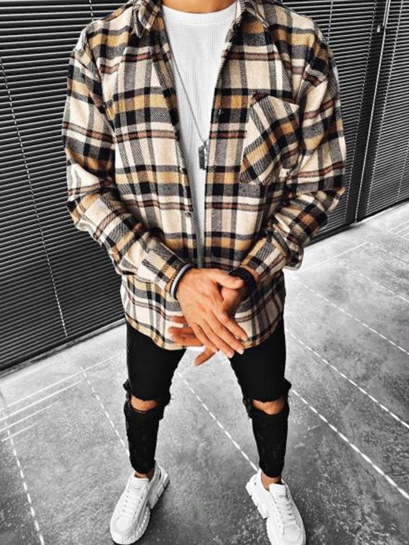Street Fashion Plaid Texture Casual Jacket