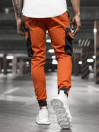 Men's Casual Woven Pocket Stitching Beamed Casual Pants Trousers
