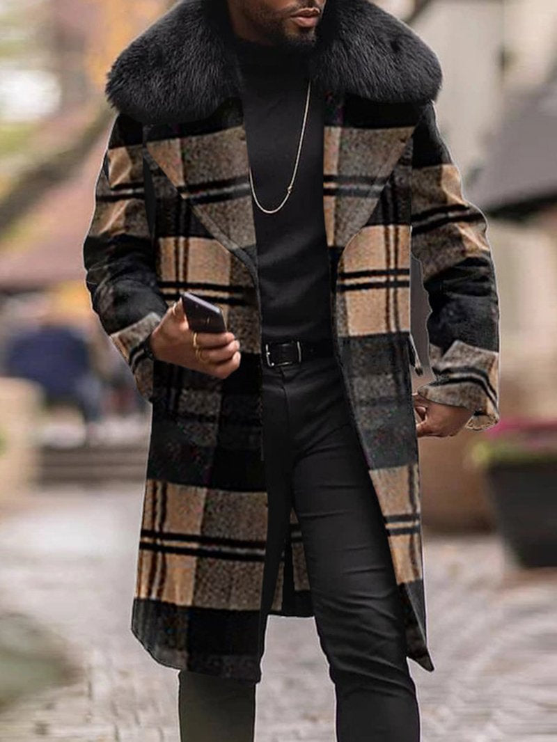 Plaid Woolen Slim-fit Mid-length Fur Collar Coat
