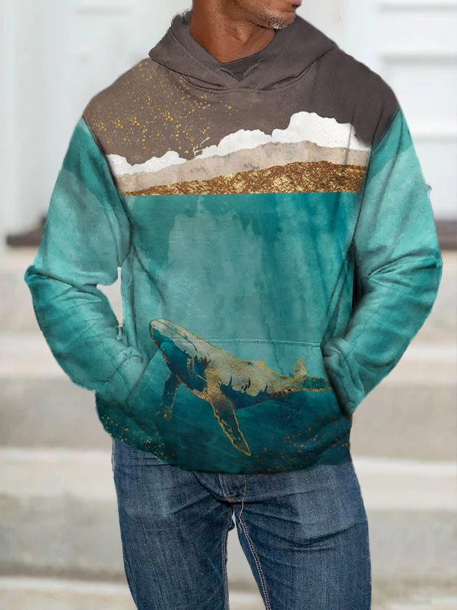 Landscape Painting Print Hooded Sweatshirt