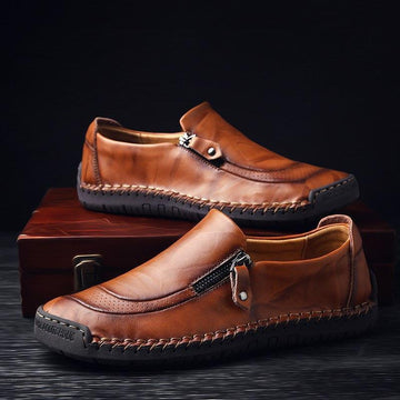 Pure Color Zipper Casual and Comfortable Flat Men's Leather Shoes