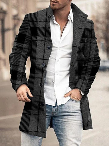 Stand Collar Mid-Length Plaid European Fall Coat